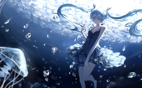 Picture girl, smile, bubbles, anime, art, jellyfish, vocaloid, hatsune miku, under water, deep-sea girl, barli