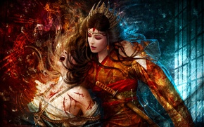 Picture girls, sword, rope, crown, art, pain, mario wibisono, torture, legend of the five rings, the …