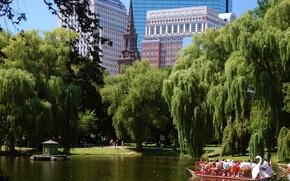 Picture the sky, trees, Park, home, USA, boat, Boston, boston