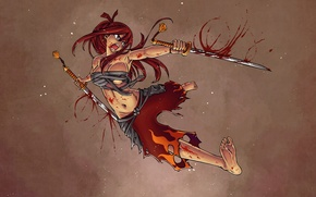 Picture blood, anime, swords, Ezra Scarlet, Fairy tail, fairy tail, Elsa Scarlet