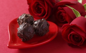 Picture red, Valentine's day, candy, love, gift, roses, romantic, chocolate, roses, chocolate, love, heart