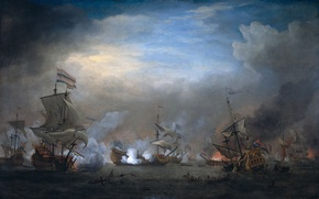 Picture sea, ships, Battle of Texel, 1673