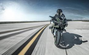 Picture Kawasaki, moto, bike, power, motorcycle, speed, track, Ninja, H2R