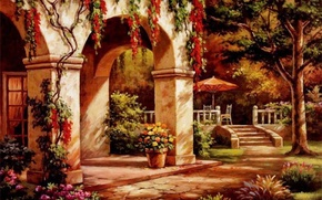 Picture autumn, house, picture, arch, painting, facade, painting, Sung Kim
