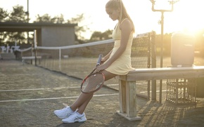 Picture sport, girl, court, racket
