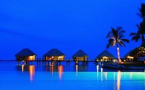 Picture fantastic, resort, bungalow, at night
