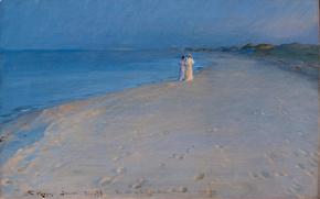 Picture sea, summer, landscape, picture, the evening, walk, Peder Severin Krøyer