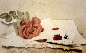 Wallpaper letter, paper, notes, rose, handle, vintage