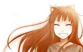 Picture smile, art, Anime, Spice and wolf, Holo, Spice and Wolf, white background.