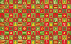 Picture pattern, carpet, star, tree, new year, cells, fabric, square, snowflake