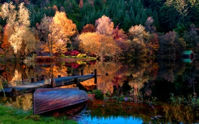 Wallpaper autumn, forest, grass, leaves, landscape, nature, lake, boat, home, Trees