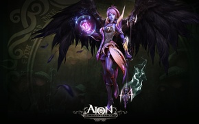 Picture wings, feathers, staff, the enchantress, aion