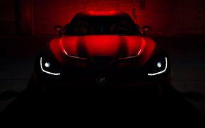 Picture roof, red, darkness, lights, the hood, Dodge, Dodge, supercar, twilight, Viper, the front, GTS, Viper, …