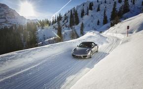 Picture road, the sun, snow, 911, Porsche, Porsche, the front