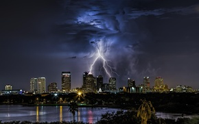 Picture the storm, the sky, night, clouds, the city, lights, zipper, building, skyscrapers, USA, Florida