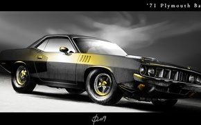 Picture black, figure, 1971, Barracuda, Plymouth, Plymouth, Muscle Car