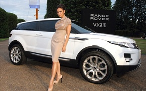 Picture road, girl, trees, Girls, Land Rover, white car, Victoria Beckham