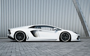 Picture white, wall, profile, white, wheels, lamborghini, black, aventador, lp700-4, Lamborghini, aventador, black rims