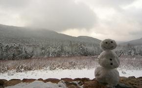 Wallpaper snowman, Winter