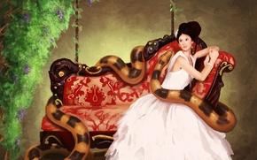 Picture flowers, sofa, snake, girl, sanguisgelidus, art, dress