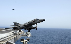 Picture the carrier, deck, the rise, carrier-based attack aircraft, French, supersonic, Dassault Super-Etendard