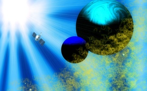 Picture space, rays, light, nebula, rendering, planet, satellite
