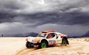 Picture clouds, overcast, Sand, Auto, White, Sport, Machine, Race, Rally, Dakar, Dakar, Rally, Side view, 2014, …