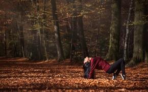 Wallpaper autumn, forest, girl, dance, Leslie