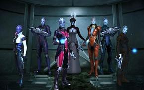 Picture pose, rendering, weapons, girls, Mass Effect, costumes, Azari, biotics