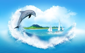 Picture sea, clouds, squirt, Dolphin, shore, heart, sailboats