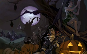 Wallpaper cat, night, tree, the moon, village, the demon, art, pumpkin, Halloween, vampire, Halloween, bats, demoness, ...