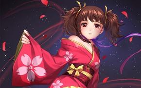 Picture night, petals, girl, kimono, bow, red eyes, tails, Kabaneri of the Iron Fortress, Koutetsujou no ...