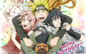 Picture anime, Sakura, art, Sasuke, Naruto, Naruto, team 7, Kakashi