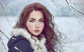 Picture girl, blue eyes, winter, snow, lips, face, painting, brunette, branches, Selenad the