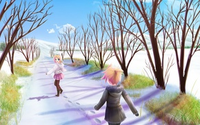 Picture winter, snow, mood, anime, len, alley, Vocaloid, Rin