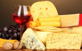 Picture wine, glass, cheese, grapes, nuts, wine, grapes, cheese