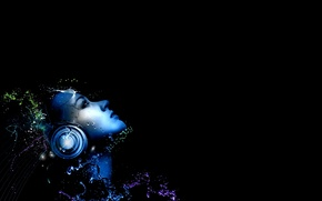 Wallpaper DROPS, WATER, SQUIRT, FACE, HEADPHONES, GIRL, BLACK, BACKGROUND