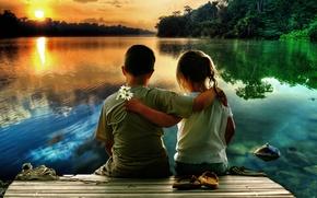 Picture sunset, children, lake