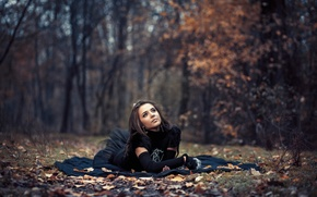 Picture autumn, forest, leaves, girl, dress, bokeh