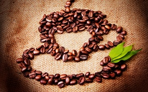 Picture creative, figure, coffee, mug, leaves, grain