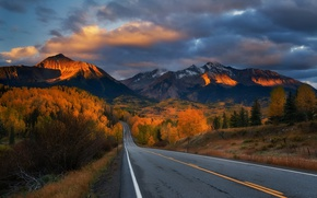 Wallpaper road, sunset, mountains