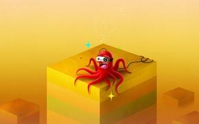 Wallpaper yellow, Cuba, octopus, joystick