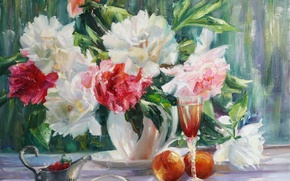 Picture tenderness, beauty, flowers, flowers, Paeonia, lit by the sun, peonies at the window, pink, strawberry, ...