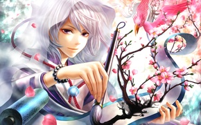 Picture paintbrush, purple eyes, scroll