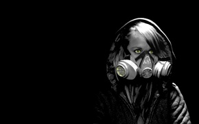 Picture darkness, gas mask, Woman, yellow eyes, post Apocalypse