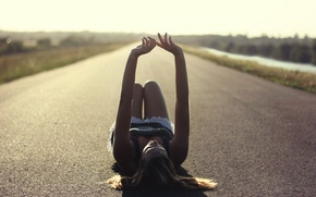 Picture road, girl, mood