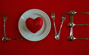 Picture heart, plate, fork, spoon
