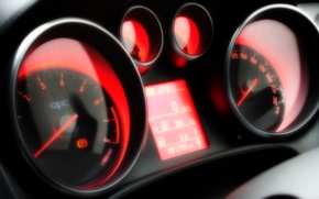 Picture red, speedometer, Ford Fusion