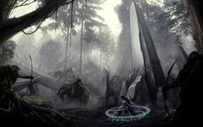 Picture forest, weapons, magic, sword, bow, art, MAG, rider, column, obelisk, okita, archers, prisoner