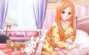 Picture kawaii, girl, game, Bleach, octopus, woman, anime, beautiful, pretty, window, mushroom, bed, asian, teddy bear, …